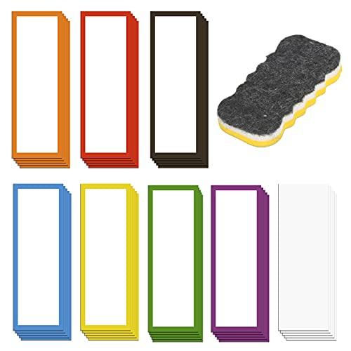 LOPOTIN 40pcs Magnética Etiqueta, Colorida Etiqueta Magnética para Escribir Borrable, Etiqueta Magnética de Notas Adhesivas con Borrador, para Pizarra Móvil refrigerador Nevero Oficina Escuela.