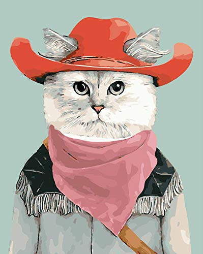 VIKMARI Painting by Number Kits for Adults 40cm x 50cm Canvas DIY Acrylic Painting for Adults and Kids with Paints Cowboy Cat Without Wood Frame