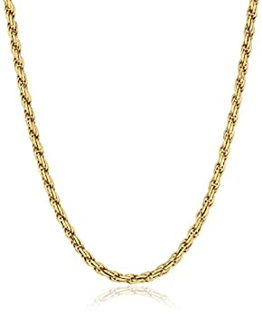 Amazon Essentials Yellow Gold Plated Sterling Silver Diamond Cut Rope Chain Necklace 18