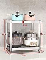 収納ラック、ストーブの上に電子レンジスタンドホワイトミニ冷蔵庫コーナーカウンタートップ2段ステンレススチールメタルシェルフ