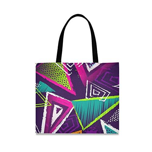 RURUTONG Geometría Color Lona Tote Bolsa para Mujeres Niñas Pintura Creativa Especial Bien Hecho Multiusos Reutilizables Comercio Playa Bolsas de Compras Bolso 2010075