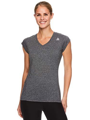 Reebok Women's Cap Sleeve Gym & Workout T-Shirt - Performance V-Neck Athletic Running Top - Perfect Cap Black Heather, Medium