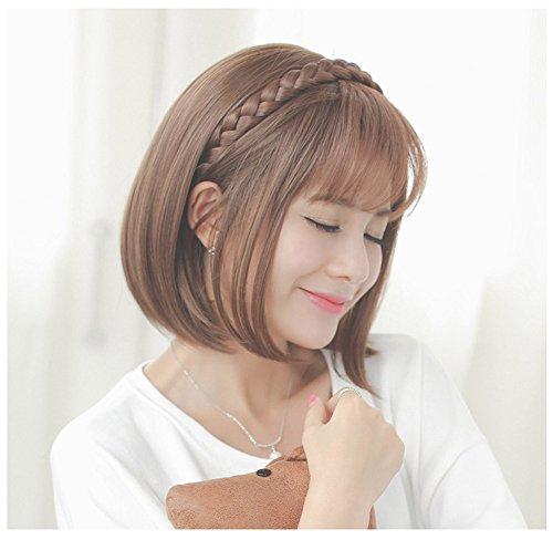 SAEONS(サエオンズ)エアリーバンク空気感前髪ウィッグ三つ編みウィッグ付カチューシャぱっちんクリップ微かストレートポイント部分ウィッグ2タイプ簡単結婚式髪バンド光ブラウン