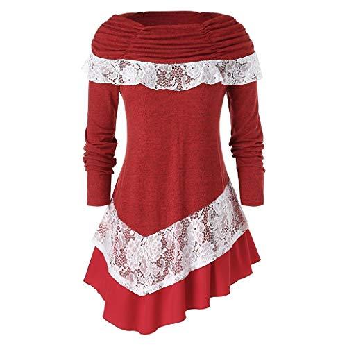Auifor Gran tamaño de Las señoras de Moda de Manga Larga de Encaje Color sólido de Navidad Costura Dobladillo Superior Biselado(Rojo/XXX-Large)
