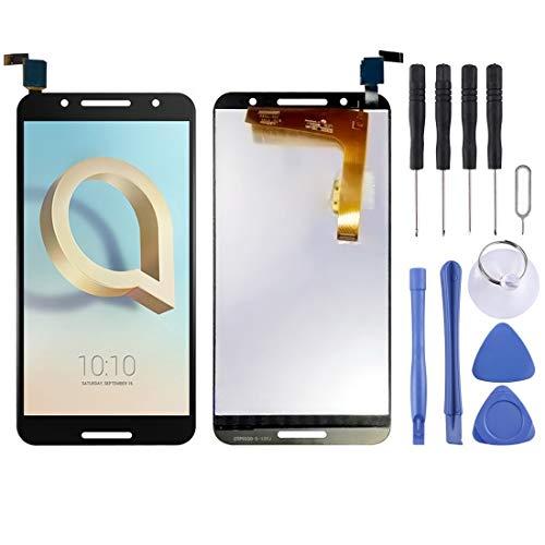 Cqu repareren van het LCD-scherm, repareren van een defecte, beschadigde, gebarsten reserveonderdelen van de nieuwe LCD-beeldschermweergave en de digitizer voor de Alcatel A7/5090Y/5090A-mobiele telefoon., zwart