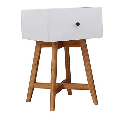 XBR Sofa Beistelltisch, Tische Pine Nachttisch, Schlafzimmer Montageschrank, Sideboard mit Schubladen, White Storage Beistelltisch, Pine Wood Feet Couchtisch Farbe: Weiß, Größe: 15.7415.7423.62in