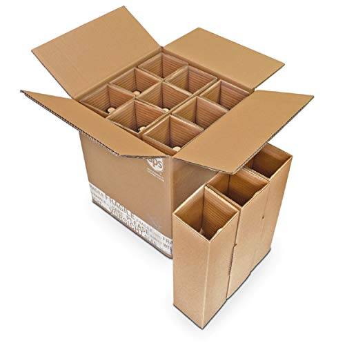 Flaschenversandkarton für 9 Flaschen inkl. Einlage 9er Weinkarton Wein Sekt Spirituosen Saft Magnum Gin PTZ DHL UPS DPD Hermes Weinversandkarton Flaschenkarton (5)