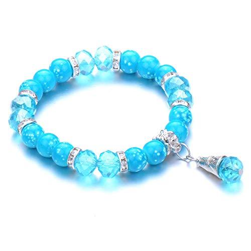 Pulseras Brazalete Joyería Mujer Pulsera De Moda Parejas Bola Colgante Piedra Yoga Pulsera Mujer Jewel-Blue_White_Zinc_Plated