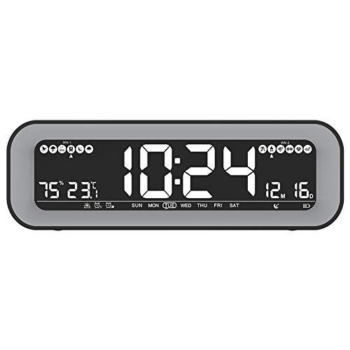 Cobeky Radio despertador con regulador automático, radio FM, temperatura y humedad, alarma doble, repetición, pantalla de fecha para dormitorio