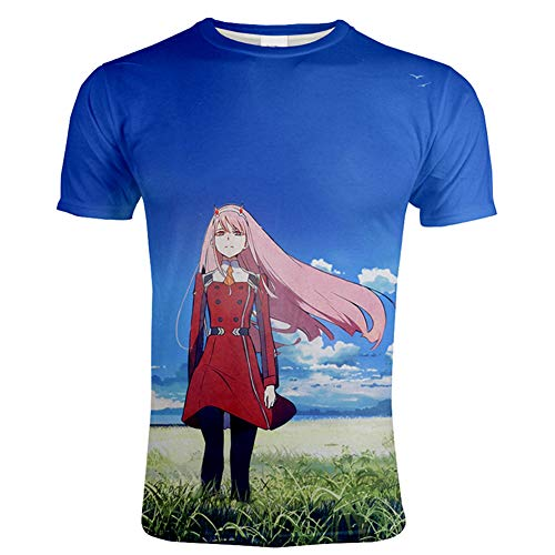 ZWJX 3D Printed Japan Manga Darling in The FRANXX T-Shirt Novelty Graphic Cool Hip Hop Casual Shirt in Summer Short Sleeve Comfy Tee Cosplay Unisex Costume,6XL