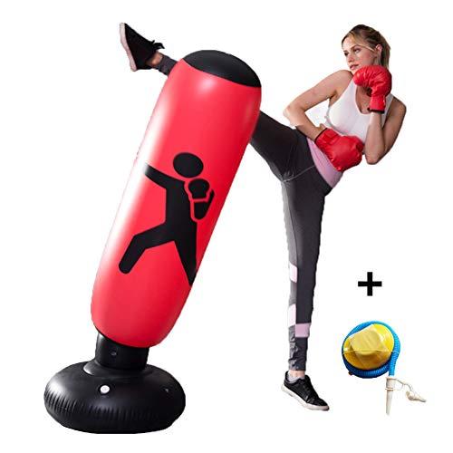 Opblaasbare Boxing Bag, Fitness Bokszak, PVC Tumbler Ponsen Zandzak Volwassenen Opblaasbare Boxing Column Spanningsverlichter,Red