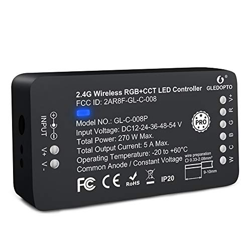Zigbee Controller PRO Version ZigBee 3.0 RGBCCT LED Strip Controller Pro Smart APP Voice Control Compatible with Hub RF Remote (RGBC-CT PRO Version)