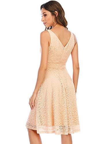 Bbonlinedress Kleid Damen cocktailkleid Gelb Damen Rockabilly Kleider Damen Kleider Hochzeit Abendkleider lang Geschenk für Frauen Petticoat Kleid Champagne S