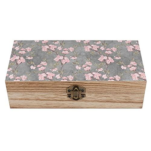 Elegante caja decorativa de madera con diseño de flores rosadas y delicadas, color gris, caja de regalo para el hogar, caja de regalo, caja de té de almacenamiento de 7.9 x 3.7 x 2.3 pulgadas