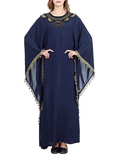 Qianliniuinc Abaya Muslim Damen Islamische Kleider-Islamische Kleidung Langarm Stickerei Kaftan Dubai Beading Jalabiya Baumwolle Plus Size