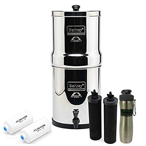 Big Berkey Drinking Water Filtration System w/ 2 Black Filters, 2 Fluoride Filters, and Berkey Stainless Steel Bottle - Silver
