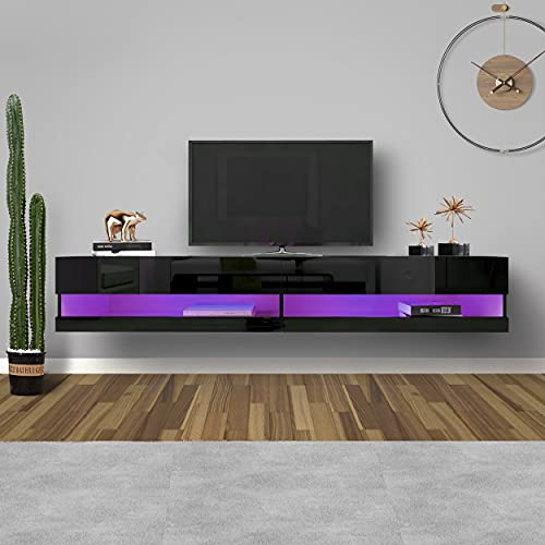 """WERSMT LED TV Stand, Floating Wall Mounted Entertainment Center with Storage and LED Lights for 80in, Large Size 71 """"W × 17"""" D × 12 """"H, Smart Modern TV Cabinet for Living Room (D, Black)"""