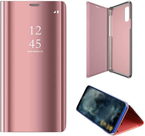 """SevenPanda Handyhülle Metall Für Huawei P20, Hua Wei P20 5.8"""" Hülle Spiegel, Flip Stand Mirror Cover Handytasche Intelligente Schlaf/Wach Book PC Hart Schale Abdeckung - Rosa"""