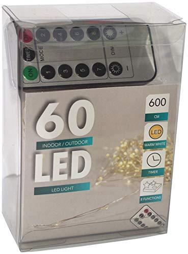 Lights4fun Guirlande lumineuse LED Fil Batterie Blanc chaud avec minuteur pour l'intérieur et l'extérieur + télécommande pour 8 fonctions différentes