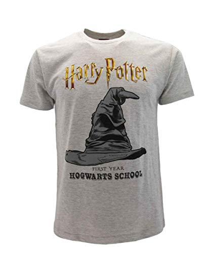 Harry Potter Camiseta Gris Hombre Manga Corta Impresión Frontal Sombrero Parlante Producto Oficial 100% Original (XS)