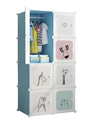 mueble ropero dormitorio Mueble de almacenamiento de montaje de guardarropa simple moderno para niños Muebles de dormitorio para muebles de vestimenta portátil 75x47x147cm, azul + blanco closet armari