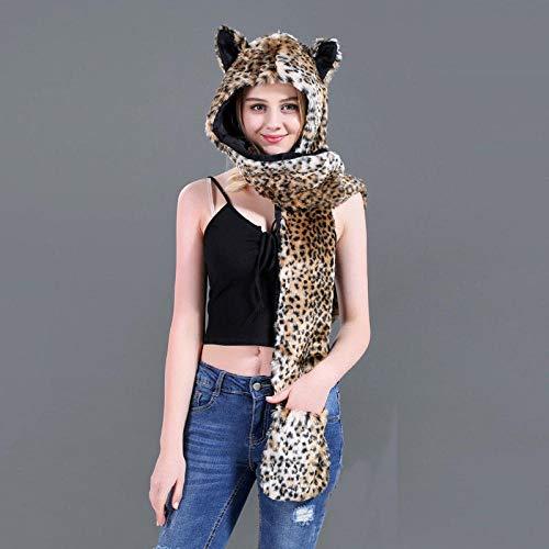 PLOOKIJUH Mütze Ohrenschützer Ohrenschützer 3 in 1 Tiertasche Plüsch Mütze warme Ohrenschützer Tier Mütze mit Schal Handschuhe-3