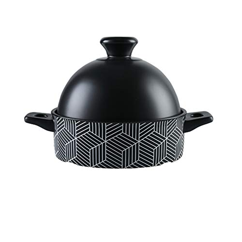 WJXBoos Marokkanische Tagine Topf Mit Roten Deckel,Keramik Auflauf Dampfer Braiser Pan Gesunde Saucepan Erdtopf Für Braising Langsames Kochen Black 1.3l