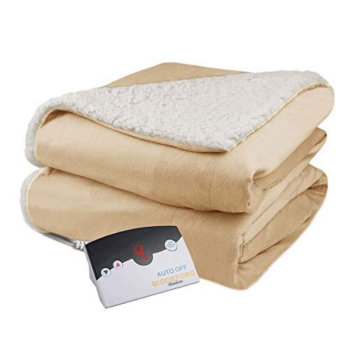 Biddeford Velour Sherpa Electric Heated Warming Blanket Twin Linen Washable Auto Shut Off 10 Heat Settings