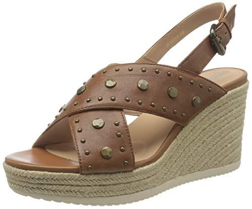 Geox D Ponza A, Sandalias de cuña Mujer, marrón, 38 EU