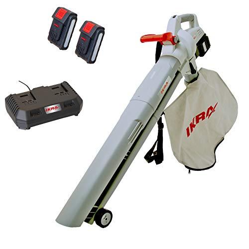 Ikra Aspirateur-souffleur-broyeur à Batterie ICBV 2/20, 2x Batteries et 1x Double charger Rapide inclus 74003200