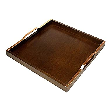 Mountain Woods ASTM Wooden Serving Tray with Copper Finish Handles, 16  L, 16 x 16 x 1.24