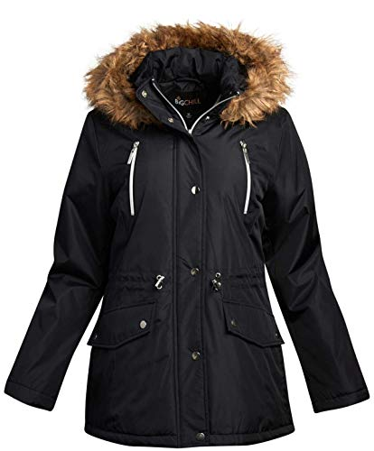 Big Chill Women's Winter Coat – Heavyweight Parka Anorak Long Length Jacket with Faux-Fur Trim Hood, Size Medium, Black