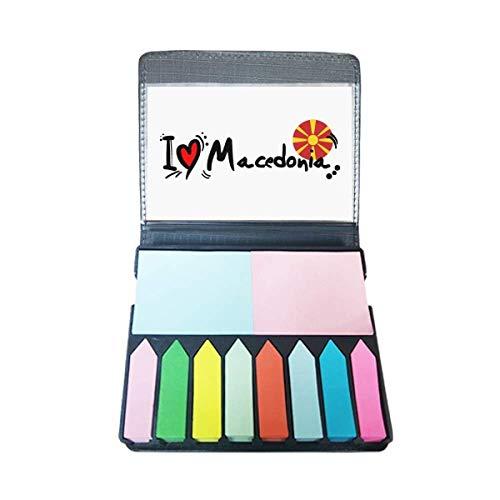 Ik hou van Macedonië Woord Vlag Liefde Hart Illustratie Zelf Stick Note Kleur Pagina Marker Box