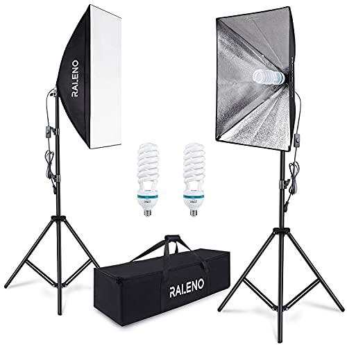 Softbox Dauerlicht Softboxen 2er Set, RALENO Studioleuchte Fotostudio Kit Fotolicht Soft-Box mit 85W 5500K Fotolampe Stativ Tragetasche