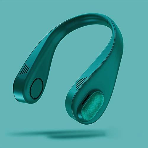 Puhui Ventilador de cuello portátil, USB mini para el cuello, 3 velocidades, 360°, ventilador sin hojas, recargable, para senderismo, deportes al aire libre, viajes, hogar, oficina (verde)