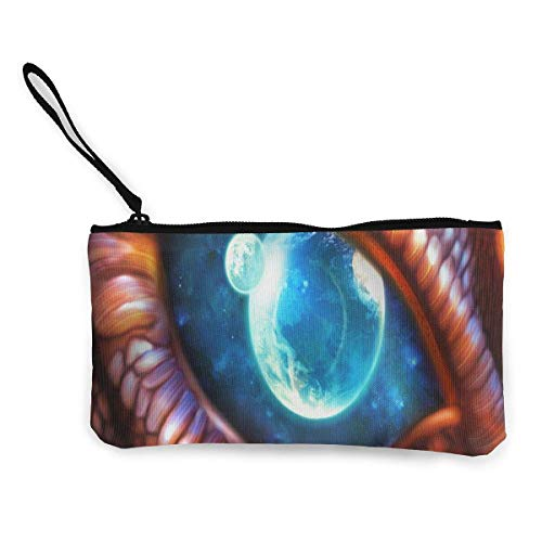 Monedero Unisex, monederos, Monedero de Lona Dragon Eye Customs Billetera con Cremallera para Efectivo Bank Car Passport