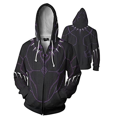 Unisex con capucha Pantera Pantera de impresión en 3D con capucha con cordón del suéter con capucha de la chaqueta y de los hombres de las mujeres (Color : Zipper Black Panther2, Size : 3XL)