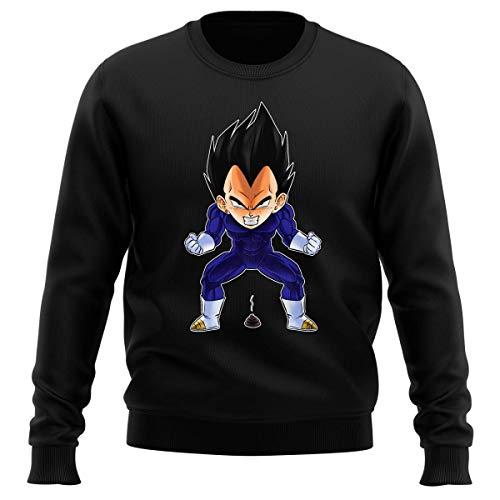 Okiwoki Pull Noir Parodie Dragon Ball Z - DBZ - Végéta - Super Caca Vol.2 (Sweatshirt de qualité Premium de Taille XL - imprimé en France)