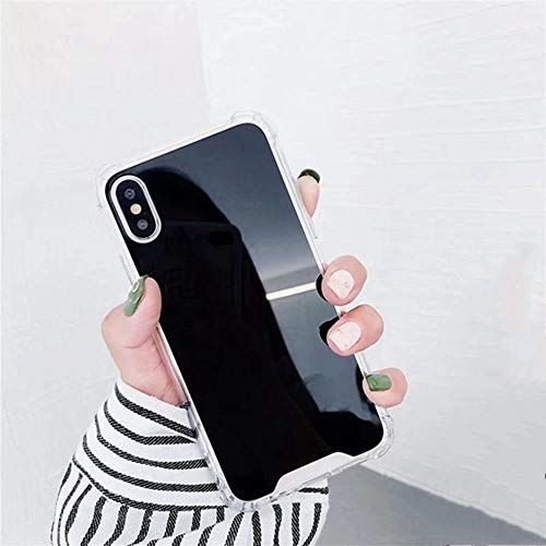 AAA&LIU Funda para teléfono con Espejo para iPhone SE 7 8 6s 6 Plus X XR XS 11 Pro MAX Funda de TPU a Prueba de Golpes para Samsung Note 9 8 S8 S9 S10 E Plus Funda, Negra, para Samsung S10Plus