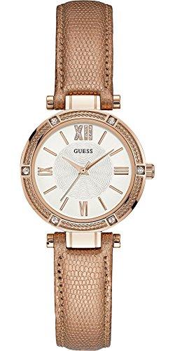 Guess Damen Analog Quarz Uhr mit Leder Armband W0838L6