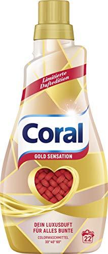 Coral Waschmittel flüssig für bunte Wäsche – 132 Waschladungen hygienisch reine Wäsche, limitierte Edition – Geld Sensation Flüssigwaschmittel ( 6 x 1,1 L)