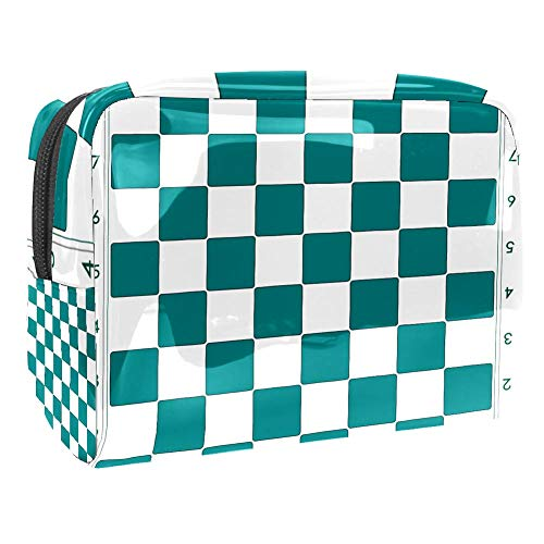 Luggage Cosmetic Cases Checkerboard Portable Travel Makeup Cosmetic Bags Organizer Multifunction Case Toiletry Bags for Women 7.3x3x5.1in