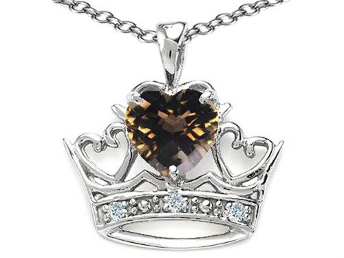 Tommaso Design Heart Shape 6 mm Genuine Smoky Quartz Crown Pendant Necklace 14 kt White Gold