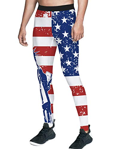 Queen Area Men's Compression Workout Training Pants American Flag Running Sports Leggings S