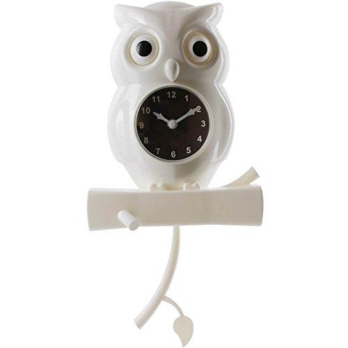 Anytime 37-2H-103 Horloge à balancier Chouette Blanche Plastique H40 x 20 x 8 cm