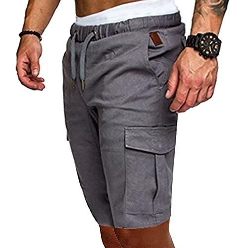 Herren Cargo-Shorts mit mehreren Taschen, einfarbig, M-3XL Gr. L, hellgrau