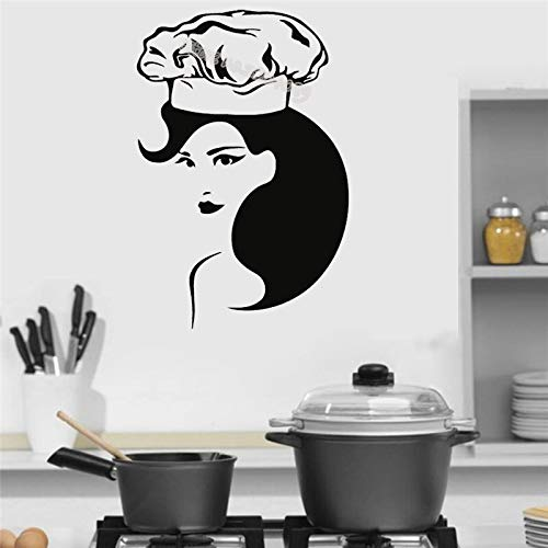 hetingyue Beautiful and Capable Woman Kitchen Chef Wall Sticker Home Decoration Kitchen Restaurant Kitchen Art Mural Restaurant Sticker 100x149cm