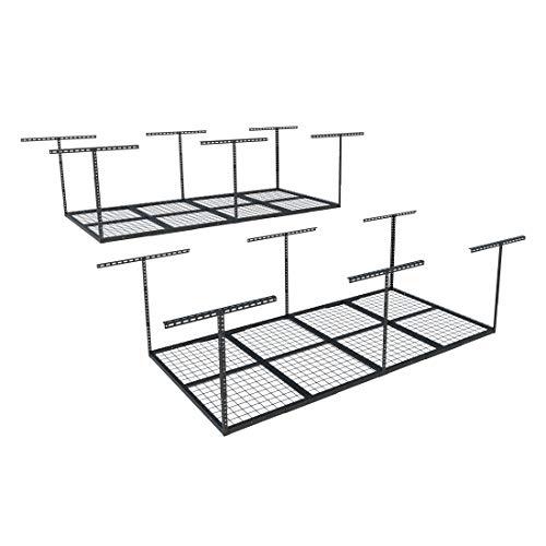 FLEXIMOUNTS 2-Piece Overhead Garage Storage Rack Set Adjustable Ceiling Storage Racks, 96' Length x 48' Width x 40' Height, 2 pcs, Black