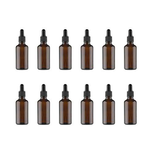 Milisten 12Pcs 15Ml Frascos Cuentagotas de Vidrio Ámbar con Cuentagotas de Vidrio Contenedores Rellenables para Aceites Esenciales Perfumes Químicos de Laboratorio de Aromaterapia