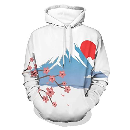 Yuzheng Unisex Hoodie Montaña De Japón Sudaderas con Capucha Manga Larga Pullover Impresión Sweatshirts para Hombre Mujer M